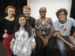 Alumna Vickie Washington and cast members of 'Speech and Debate'