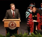 Chris Watts, Mayor of the city of Denton, congratulated Dr. Feyten on her Inauguration