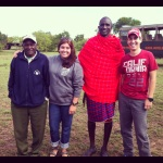Hannah and her bother, Christian, with their safari driver and Maasai guide in the Maasai Mara game park.